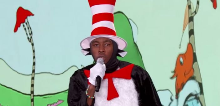 Watch Tyler The Creator rap a Dr Seuss book dressed as Cat In The Hat